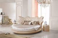 Кровать кожаная круглая Татами 1130 со стразами